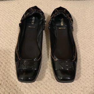 Fendi Black Patent Ballet Flats